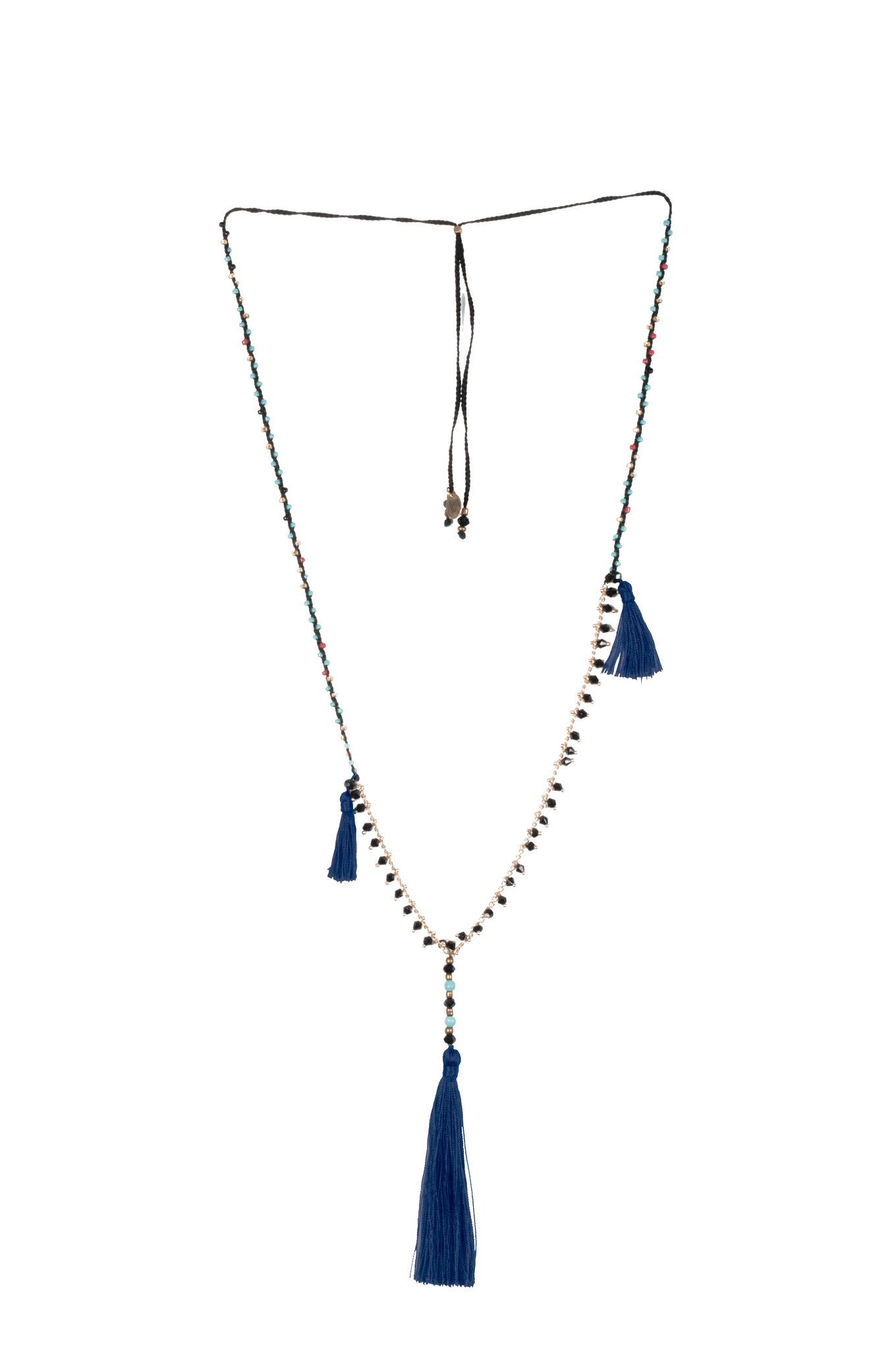 Navy Adjustable Necklace made of delicate crystal pearls, Copper chain completed by three vibrant nylon tassels