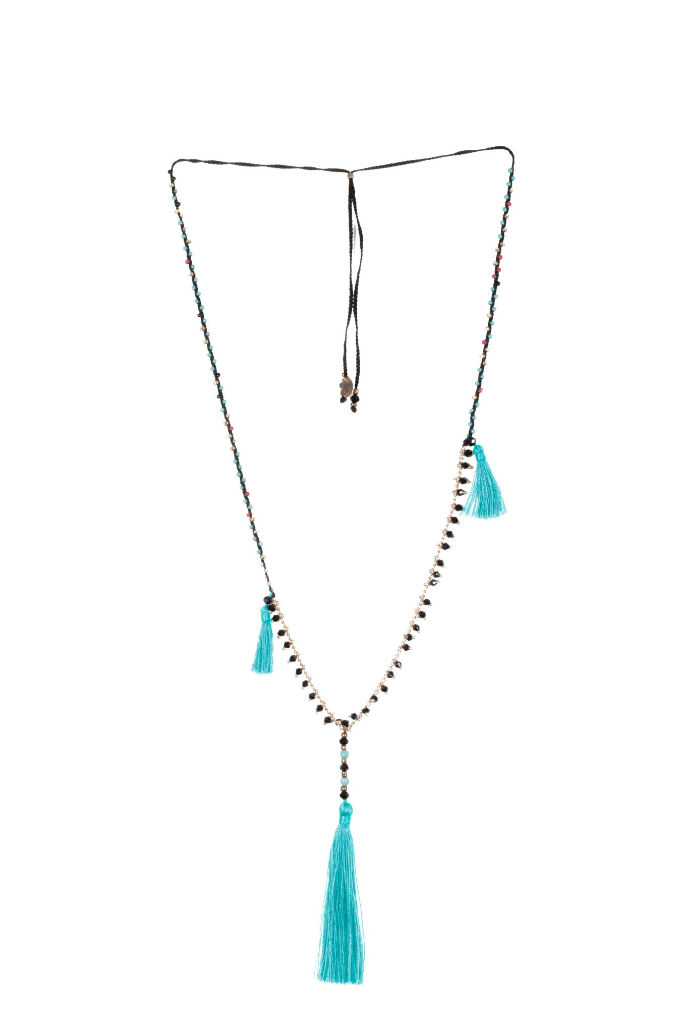 Aqua blue Adjustable Necklace made of delicate crystal pearls, Copper chain completed by three vibrant nylon tassels