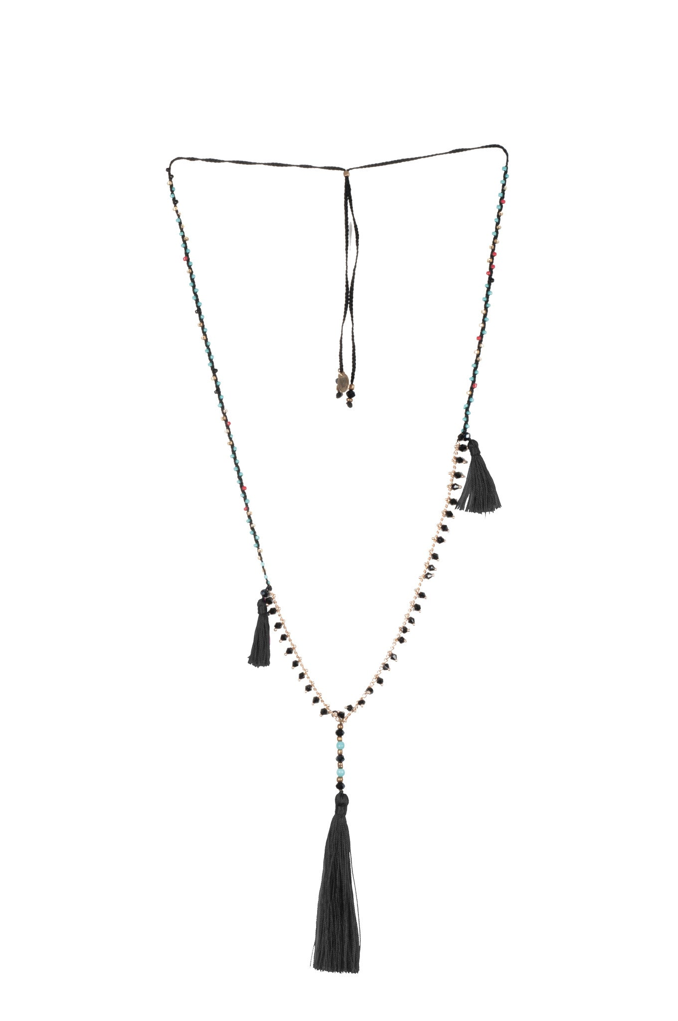 Black Adjustable Necklace made of delicate crystal pearls, Copper chain completed by three vibrant nylon tassels