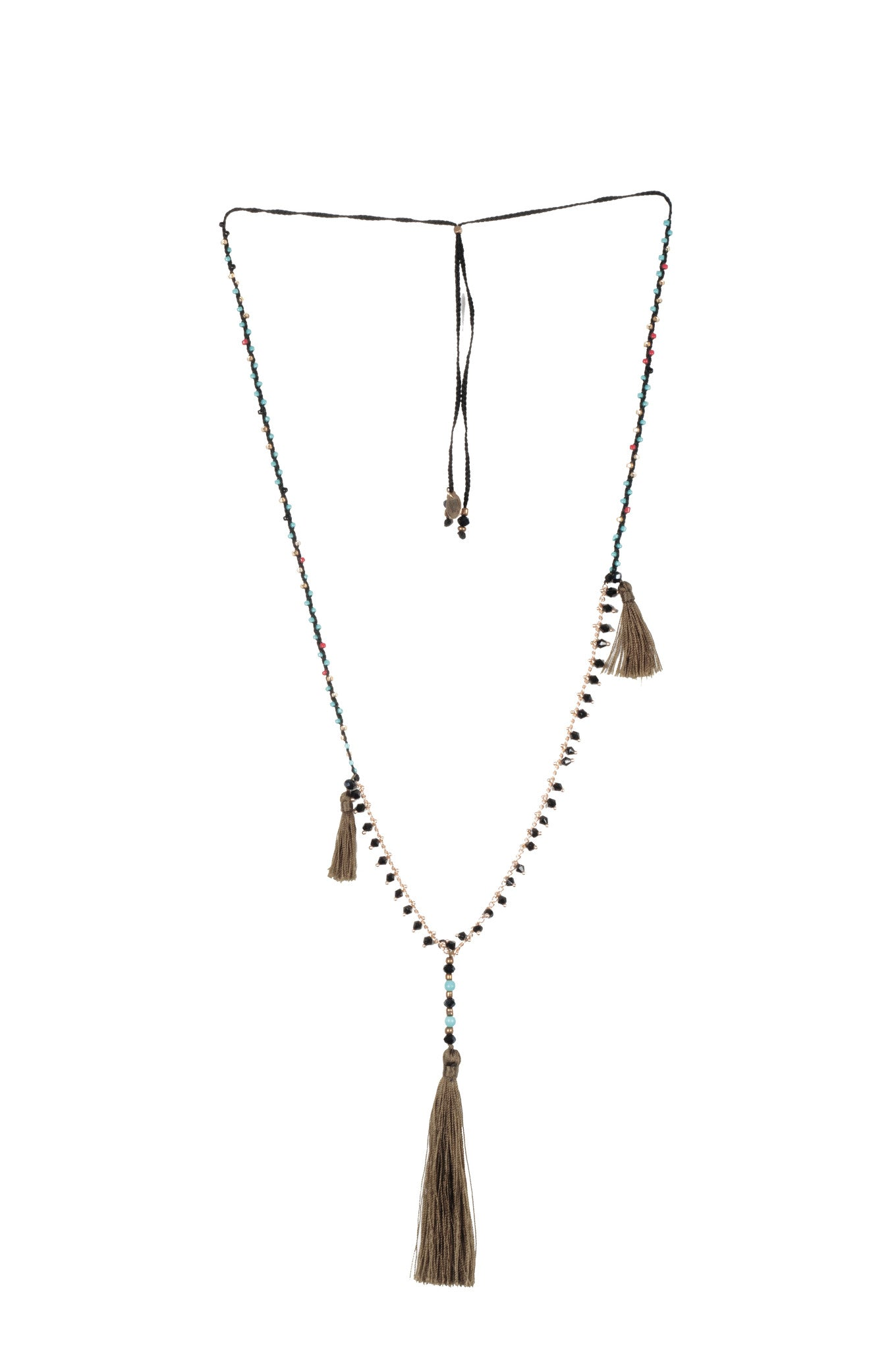Khaki Adjustable Necklace made of delicate crystal pearls, gold chain completed by three vibrant nylon tassels