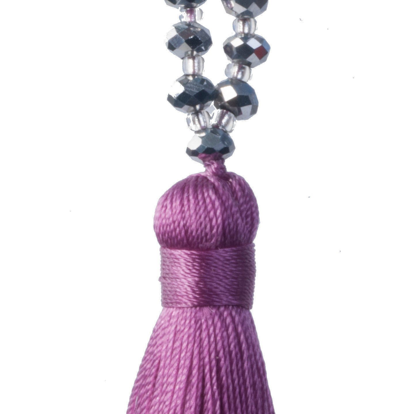 Colorful Long pendant beaded boho necklace, lilac tassel with silver beads and silver pearls handmade jewellery of Nylon in Bali