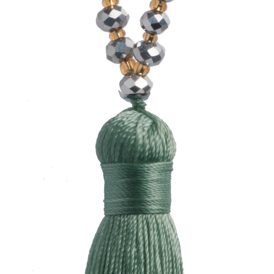 Colorful Long pendant beaded boho necklace, pine tassel with silver beads and gold pearls handmade jewellery of Nylon in Bali
