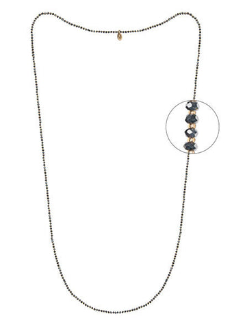 Long Sautoir Necklace made of crystal beads and glass pearls dark grey