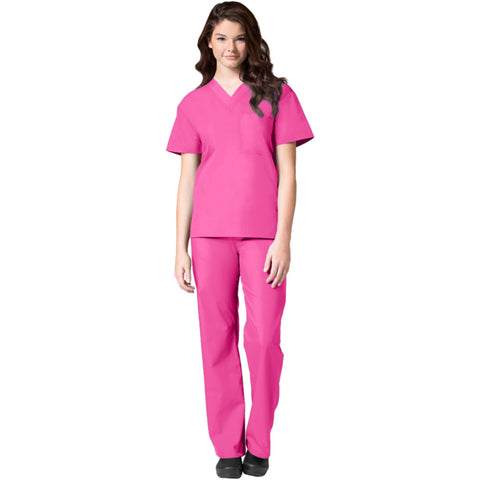 Maevn Unisex V-Neck Top and Drawstring Pant Set Style - 90061006 Hot Pink