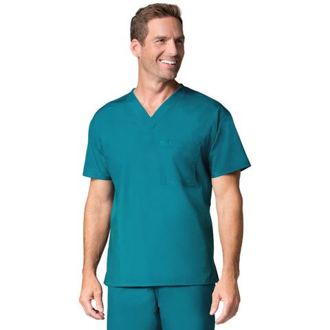 Maevn Mens One Pocket V-Neck Scrub Top Teal