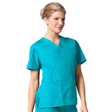 Maevn Womens V-Neck Two Pocket Scrub Top and Flare Leg Pant Set<br/>Style - 10169026<br/>Sizes XL - XXL