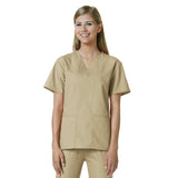 Maevn Womens V-Neck Two Pocket Scrub Top and Flare Leg Pant Set Khaki
