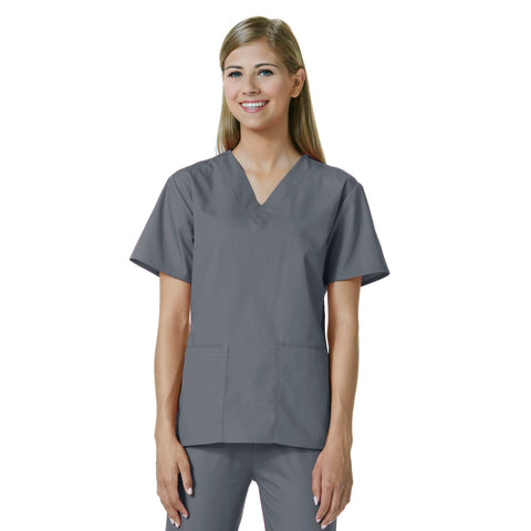 Maevn Womens V-Neck Two Pocket Scrub Top and Flare Leg Pant Set Pewter