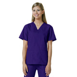Maevn Womens V-Neck Two Pocket Scrub Top and Flare Leg Pant Set Purple