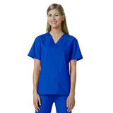Maevn Womens V-Neck Two Pocket Scrub Top and Flare Leg Pant Set Royal Blue