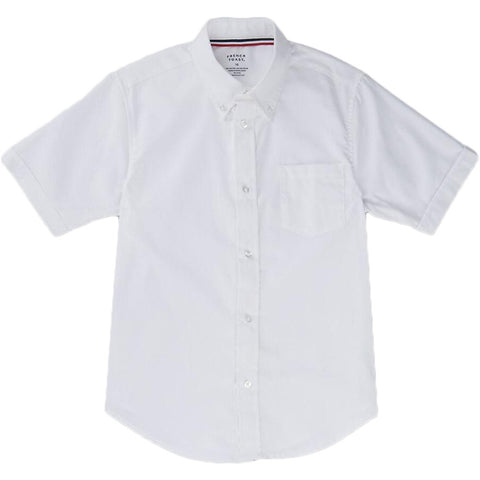 French Toast Toddlers Short Sleeve Oxford Shirt White