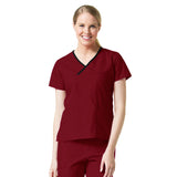 Maevn Unisex Contrast Mock Wrap Top Wine Red Plus Size