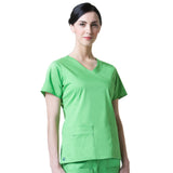 Maevn Blossom Y-Neck Mock Wrap Top with Princess Seaming - Apple Green