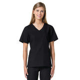 Maevn Core Curved V-Neck Scrub Top Black