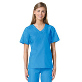 Maevn Core Curved V-Neck Scrub Top Malibu Blue