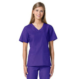 Maevn Core Curved V-Neck Scrub Top Purple