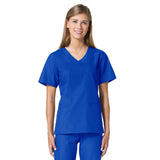 Maevn Core Curved V-Neck Scrub Top Royal Blue