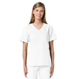 Maevn Core Curved V-Neck Scrub Top White