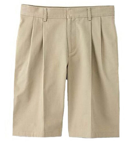Genuine School Uniform Boys Husky Pleated Uniform Shorts Khaki