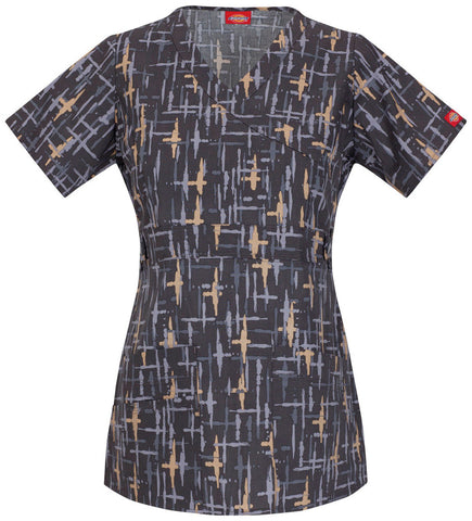 Dickies Women's Youtility Mock Wrap Scrubs Print Top Cross The Line Style 82724-CRLN Sizes XXS - 2XL