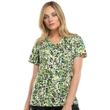 Gen Flex by Dickies Women's Mock Wrap Abstract Print Scrub Top Send In The Troops<br>Style 82724 - SITP<br>Size XXS - 2XL