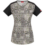 Dickies Women's V-Neck Top Textured Cheetah <br> Style 85955 - TECT <br> Sizes XXS - XXL</br>