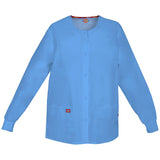 Dickies Women's Snap Front Warm-Up Scrub Jacket Ceil Blue