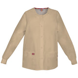Dickies Women's Snap Front Warm-Up Scrub Jacket Khaki