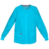 Dickies Women's Snap Front Warm-Up Scrub Jacket Icy Turquoise