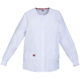 Dickies Women's Snap Front Warm-Up Scrub Jacket White