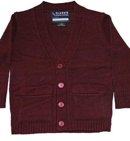 Classic Kids Anti-Pill Burgundy V-Neck Cardigan Sizes 4 - 20