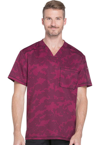 "Dickies Dynamix Mens V-Neck Geometric Print Scrub Top ""Dots So Cool"" Style DK611 DTSL</br>Sizes XL - 5XL"
