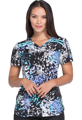 "Dickies Dynamix Women's V-Neck Scrub Top ""Dazzle Dash"" Style DK700 DZZA<br/>Sizes XS - 5XL"