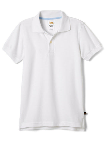 Lee Uniform Short Sleeve Kids Pique Polo - White<br>Sizes XS - XXL
