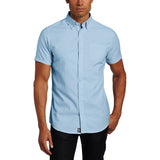 Mens Lee Button Down Short Sleeve Oxford Shirt Blue