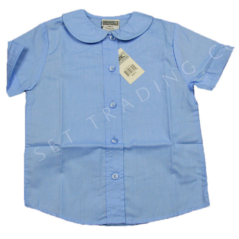 Genuine Girls Peter Pan Collar Short Sleeve Blouse Blue