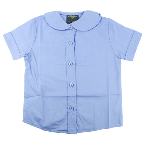 EDDIE BAUER TODDLER SCHOOL UNIFORM ROUNDED PETER PAN COLLAR GIRLS SHORT SLEEVE LIGHT BLUE BLOUSE