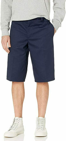 "French Toast Mens Adjustable Waist Flat Front Shorts </br> Khaki and Navy</br> Size 32"" - 38"""