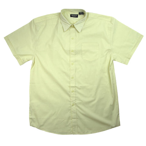 Men/'s Lee White Dress Shirt Broadcloth Button Down Short Sleeve Sizes S to XL