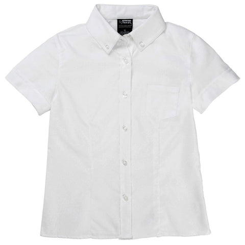 French Toast Girls Darted Oxford Blouse White