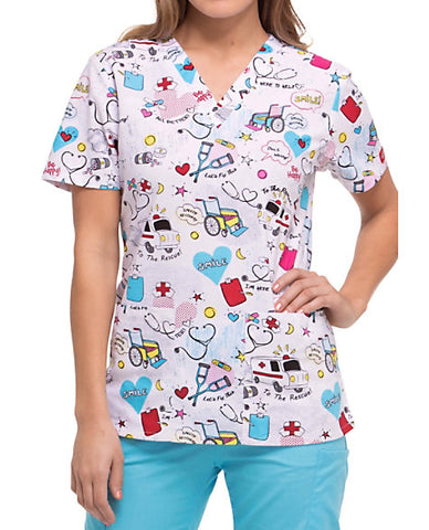 "Dickies First Responder Prints Women's V-Neck Scrub Top ""To the Rescue"" Style DK704 TRCU<br/>Sizes XS - s"