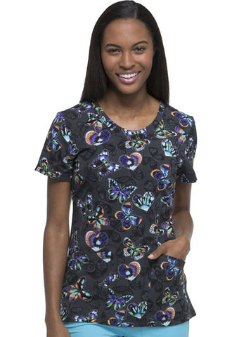 "Dickies Fashion Prints by Women's V-Neck ""Patchwork of Art"" Print Scrub Top Style DK723 PAWO<br/>Sizes XS - M"