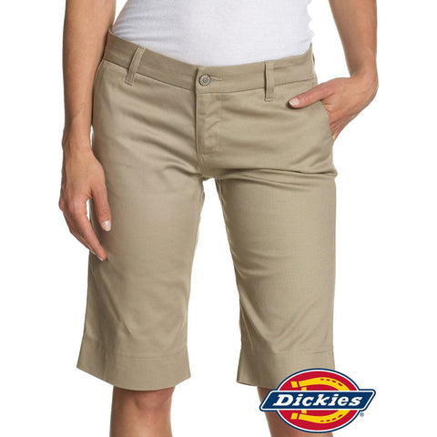 "Dickies Girls 13"" Midrise Stretch Bermuda Short Khaki Front"