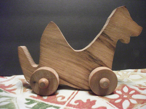 Cute Stained Wooden Push toy Momma Dino