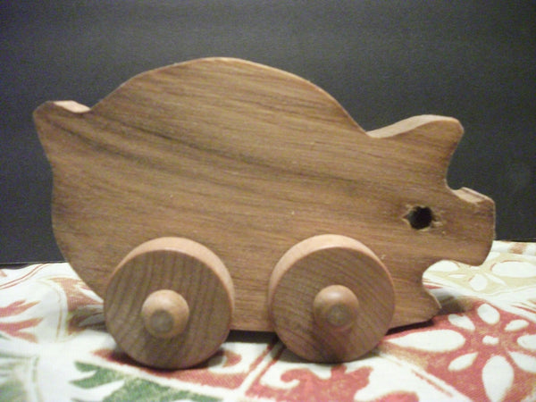 Cute Stained Wooden Push toy Little Pig