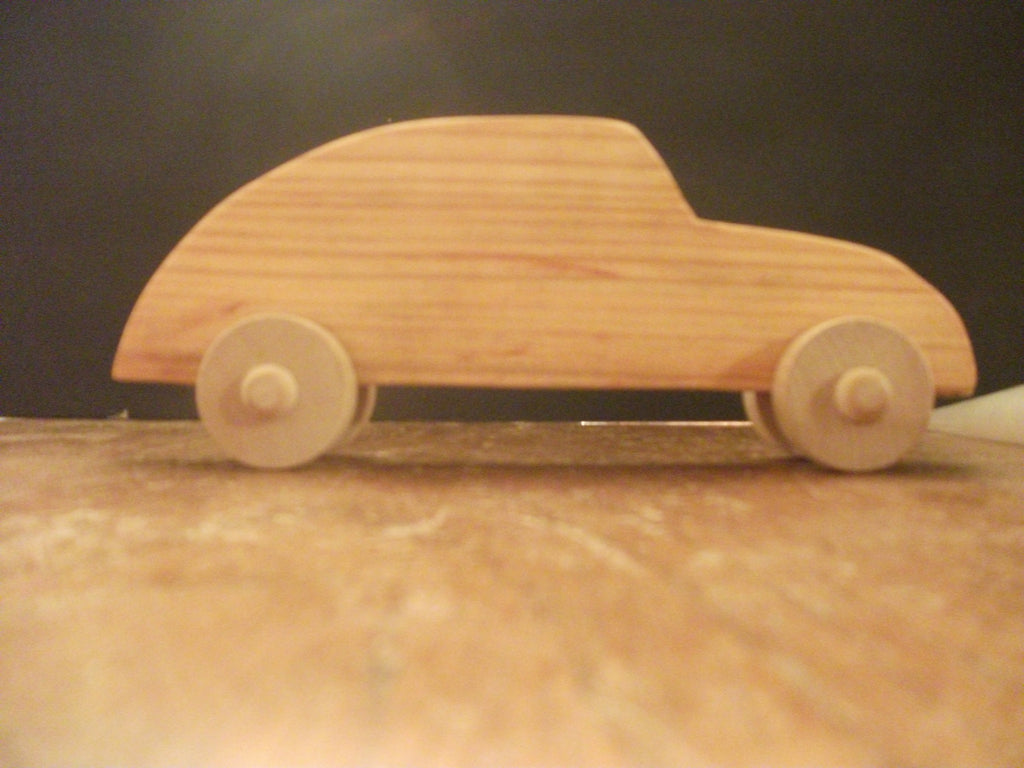 Cute Stained Wooden Antique Push Cars For Children or Desk