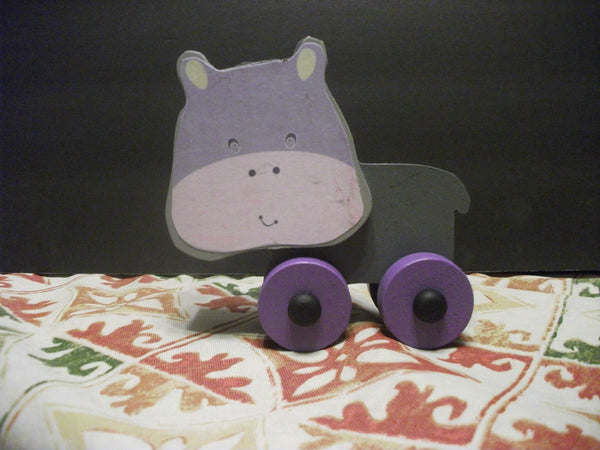 CUTE PAINTED PUSH TOY HAZEL HIPPOPOTAMUS