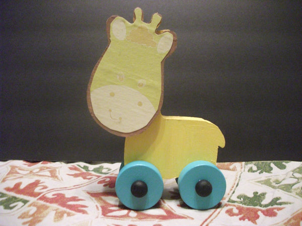 CUTE PAINTED PUSH TOY JEFF GIRAFFE