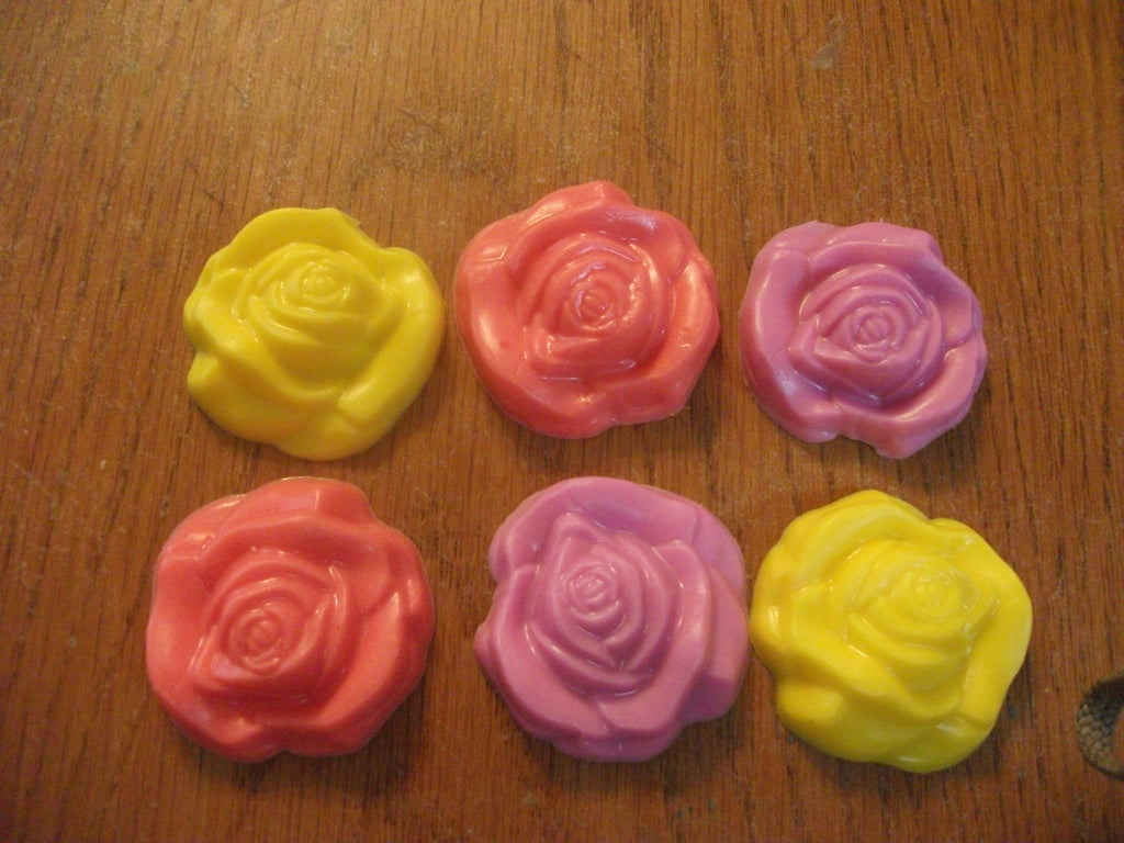 Assortment of 6 Mini Roses 100% Natural Goat Milk Soap Antique Lilac Or Choose Your Scent