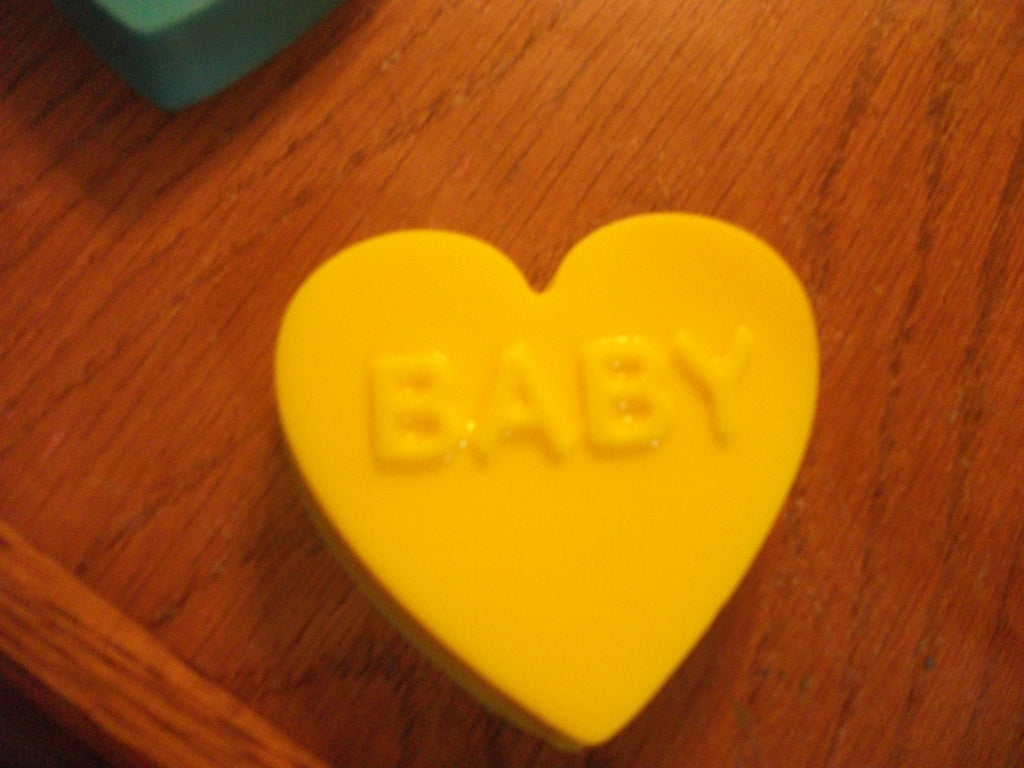 Yellow Heart That Say Baby Not Sure Sex of the Baby? 100% Natural Goat Milk Soap Antique Lilac Scented